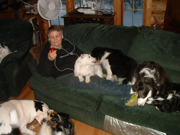 Jan, and the dogs at Gilligan's Place (deaf and deaf/blind dog Sanctuary)