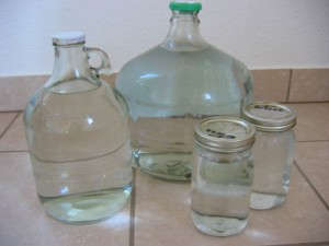 An array of water jugs