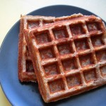 Sprouted buckwheat coconut waffles with kabocha coconut sauce