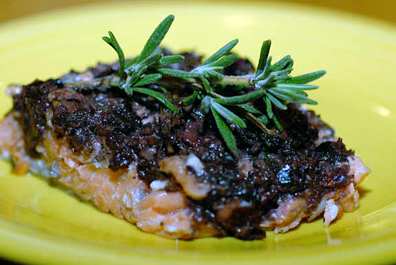 Salmon with olive anchovy tapenade