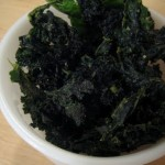 Wasabi-garlic raw kale chips