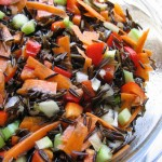 Raw sprouted wild rice salad