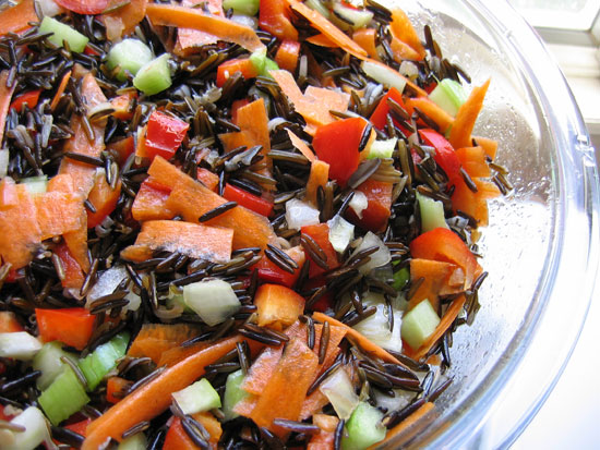 Raw wild rice salad