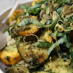 Sauteed zucchini with garlic scape and spinach pesto