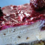 Raw blackberry cheesecake with pecan-date crust