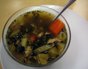 warm bowl of chicken soup