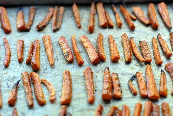 Carrot oven fries on baking sheet