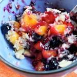Gluten-free mango-blueberry crisp