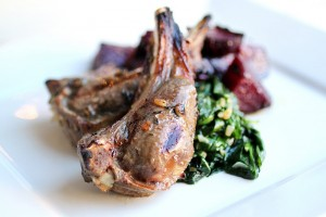 Primal Palate's Lamb Chops, Roasted Beets, and Sauteed Spinach