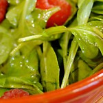 Arugula with raspberry vinaigrette