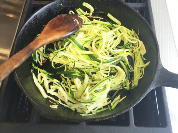 Cooking the zoodles